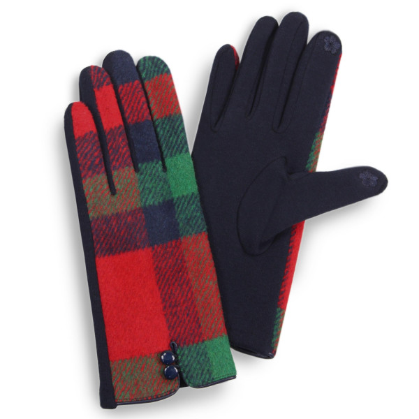 Plaid touch screen gloves with button details.  - One size fits most - 100% Polyester