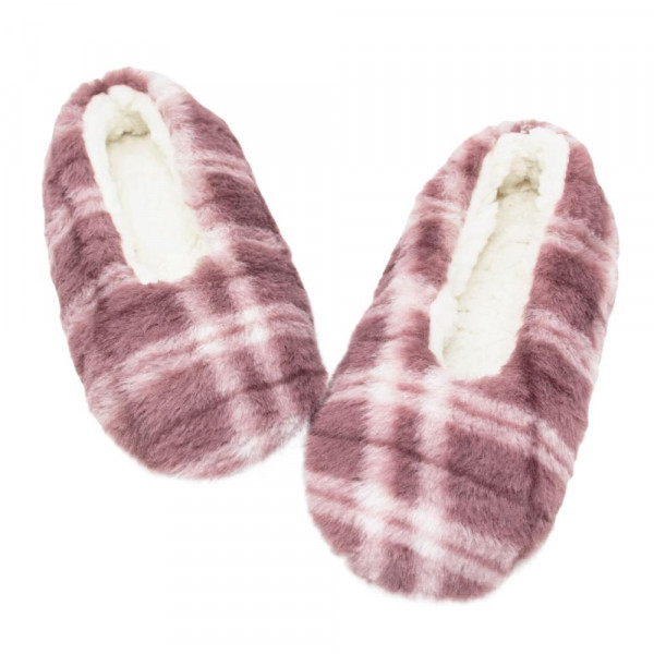 Sherpa Lined Faux Fur Plaid Indoor Slippers.  - Fits Small Approximately (5-6) - 100% Polyester