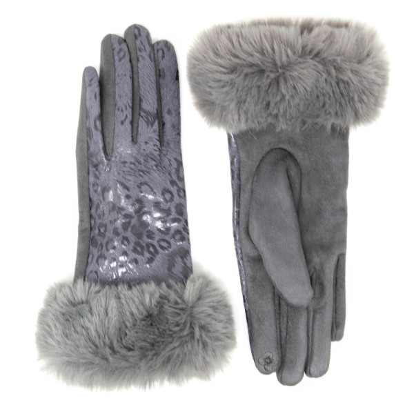 Metallic Leopard Print Smart Touch Gloves Featuring Faux Fur Cuff.  - Touchscreen Compatible - One size fits most - 60% Polyester, 40% Cotton
