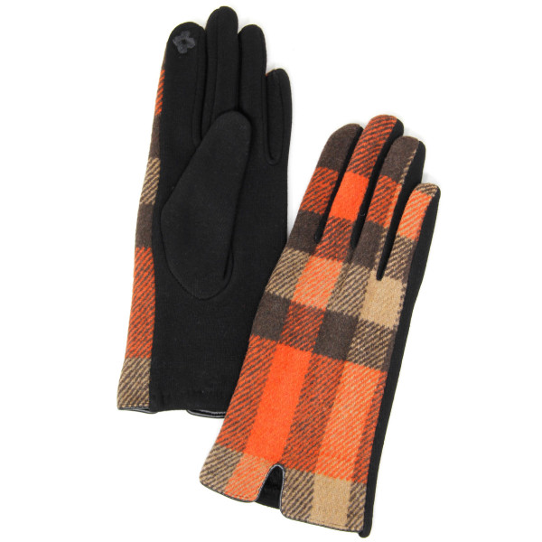 Plaid print smart touch gloves.  - One size fits most  - 60% Cotton, 40% Polyester