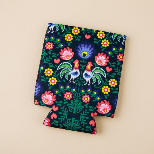 Insulated neoprene floral rooster print coozie with side stitch details.  - Fits a standard 12 oz. can