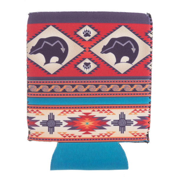Insulated neoprene tribal bear print coozie with side stitch details.  - Fits a standard 12 oz. can