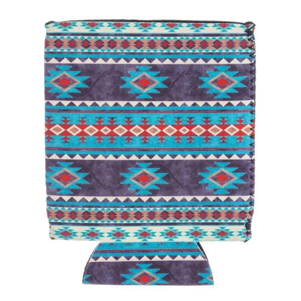 Insulated neoprene teal blue tribal print coozie with side stitch details.  - Fits a standard 12 oz. can