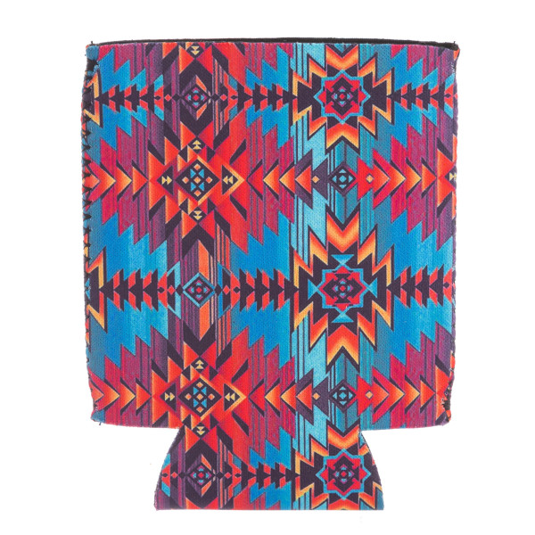 Insulated neoprene multicolor tribal print coozie with side stitch details.  - Fits a standard 12 oz. can