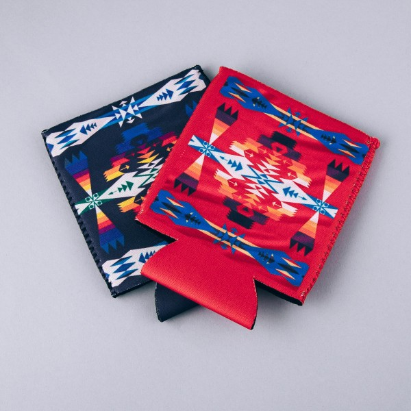 Insulated neoprene tribal print coozie with side stitch details.  - Fits a standard 12 oz. can