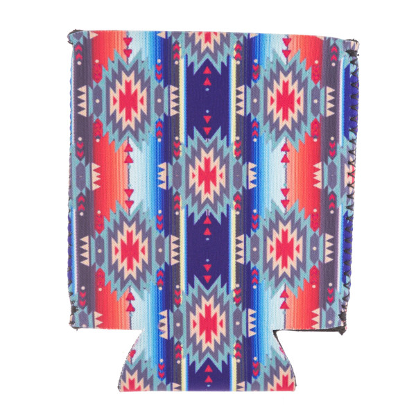 Insulated neoprene serape tribal print coozie with side stitch details.  - Fits a standard 12 oz. can