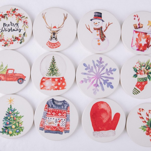 """Christmas red mitten printed car coaster set.  - Pack Breakdown: 2pcs / pack - Approximately 2.5"""" in diameter - Ceramic stoneware - Beveled edge for easy removal"""