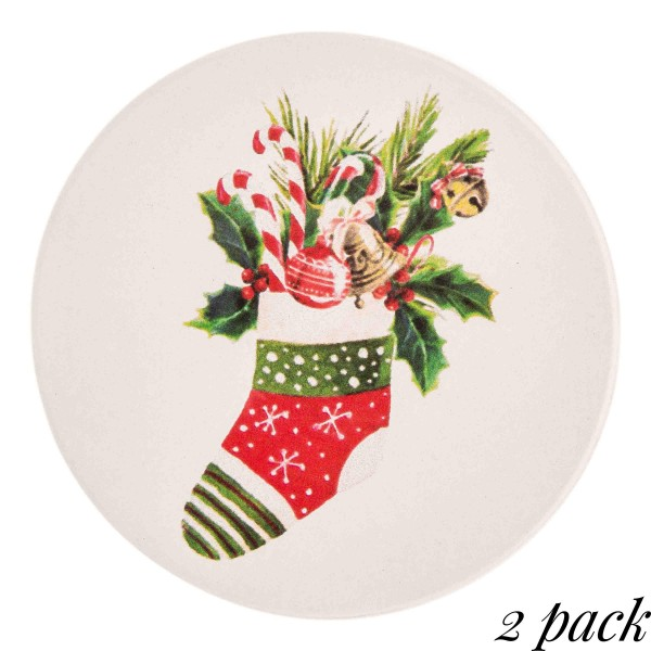 "Christmas stocking printed car coaster set.  - Pack Breakdown: 2pcs / pack - Approximately 2.5"" in diameter - Ceramic stoneware - Beveled edge for easy removal"