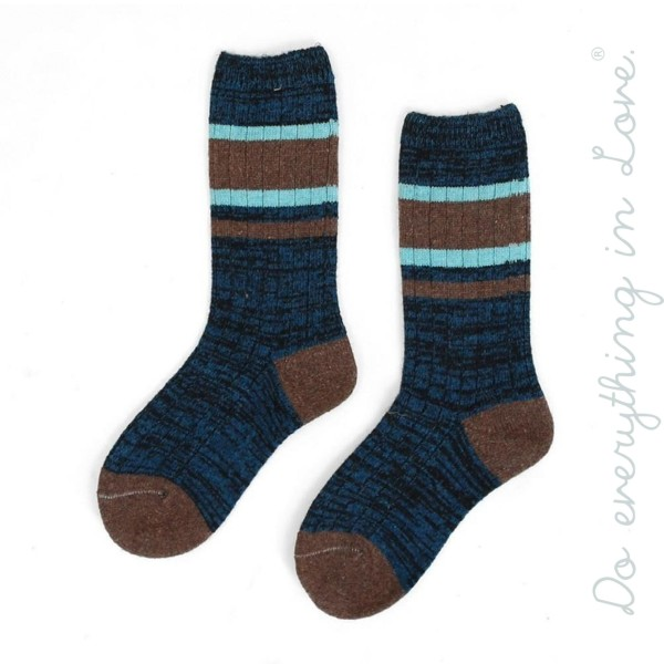 Do everything in Love brand striped marled knit tube socks.  - One size fits most women's 6-9 - 35% Wool, 65% Acrylic
