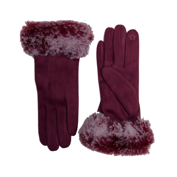 Solid color faux fur cuff touch screen gloves.  - One size fits most - 100% Polyester