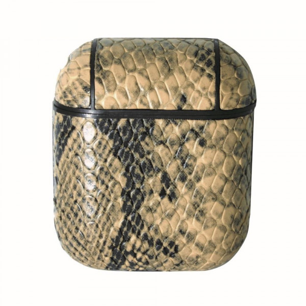 Faux Leather Snakeskin Protective Skin for Headphone Case.  - 360° Full Protection - USB Port - Compatible with AirPods & AirPods 2 - High Quality Faux Leather - Detachable Clip - Hard Plastic Inside Lining - Magnetic Secure Closure  Securely Fits AirPod Case to Allow for Magnetic Closure.  Headphones not Included.