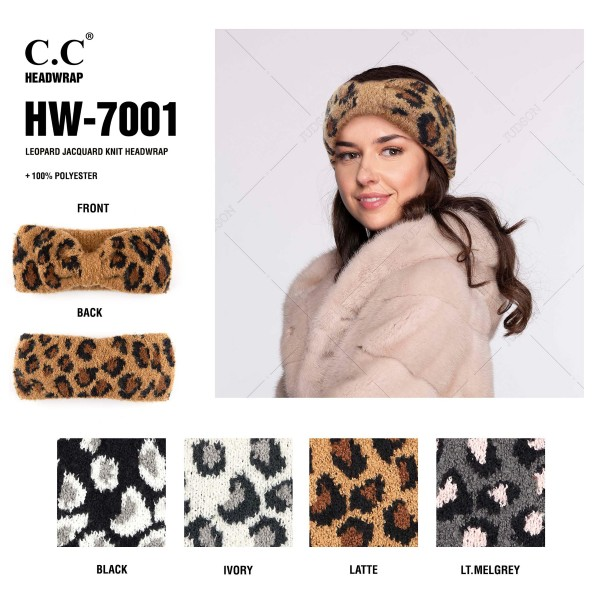 C.C HW-7001 Leopard jacquard knit headwrap  - One size fits most - 100% Polyester - Matches C.C HAT-7001, SF-7001 and CG-7001