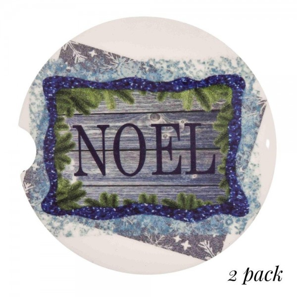 "Noel rustic bordered printed car coaster set.  - Pack Breakdown: 2pcs / pack - Approximately 2"" in diameter - Finger slot for easy removal - Condensation absorbing cork"