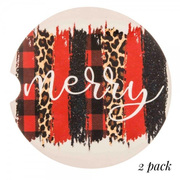 """Vintage """"Merry"""" leopard print buffalo check printed car coaster set.  - Pack Breakdown: 2pcs / pack - Approximately 2"""" in diameter - Finger slot for easy removal - Condensation absorbing cork"""