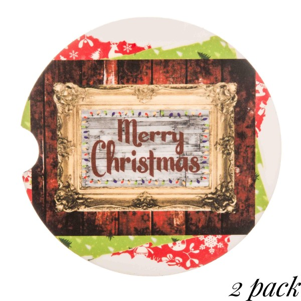"Merry Christmas rustic frame printed car coaster set.  - Pack Breakdown: 2pcs / pack - Approximately 2"" in diameter - Finger slot for easy removal - Condensation absorbing cork"