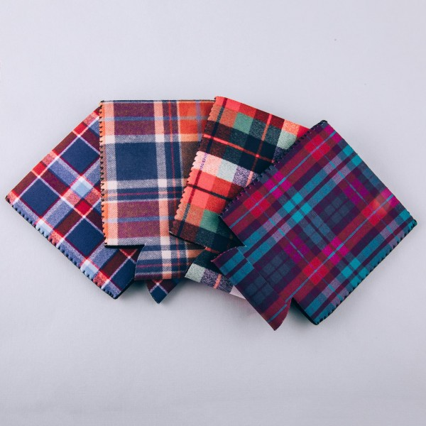 Insulated neoprene plaid print coozie with side stitch details.  - Fits a standard 12 oz. can