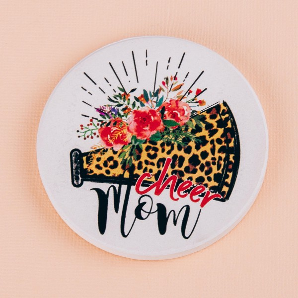 """Floral leopard print cheer mom printed car coaster set.  - Pack Breakdown: 2pcs / pack - Approximately 2.5"""" in diameter - Ceramic stoneware - Beveled edge for easy removal"""