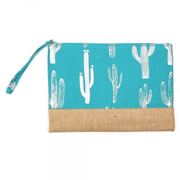 "Metallic cactus print canvas travel pouch wristlet.  - One inside open pocket - Approximately 10"" W x 7"" T  - 55% Cotton, 35% Polyester, 10% Jute"
