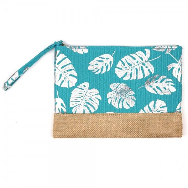 "Metallic tropical palm leaf canvas travel pouch wristlet.  - One inside open pocket - Approximately 10"" W x 7"" T  - 55% Cotton, 35% Polyester, 10% Jute"