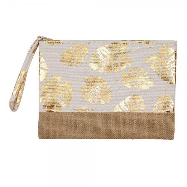 """Metallic tropical palm leaf canvas travel pouch wristlet.  - One inside open pocket - Approximately 10"""" W x 7"""" T  - 55% Cotton, 35% Polyester, 10% Jute"""
