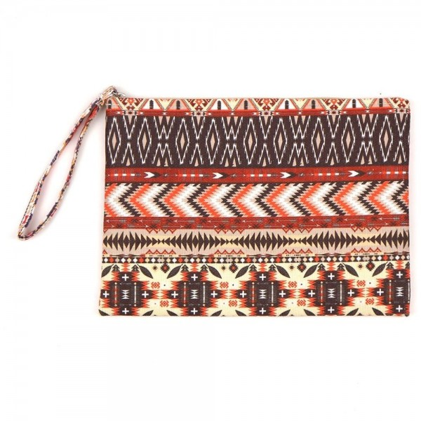 "Aztec print travel pouch.  - One inside open pocket - Approximately 10"" W x 7"" T  - 60% Cotton, 40% Polyester"