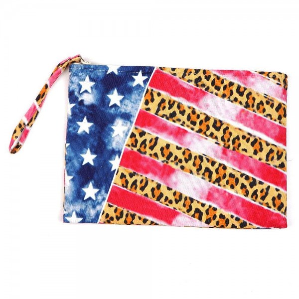 "Leopard print American flag travel pouch.  - One inside open pocket - Approximately 10"" W x 7"" T  - 60% Cotton, 40% Polyester"