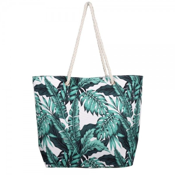 "Palm leaf tropical canvas beach bag with rope strap details.  - Button closure - One inside open pocket - Approximately 20.5"" W x 16"" T  - Strap length 12"" - 60% Cotton, 40% Polyester"
