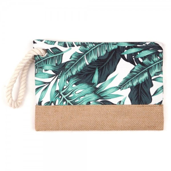 """Tropical palm leaf canvas travel pouch.  - One inside open pocket - Approximately 10"""" W x 7"""" T  - 55% Cotton, 35% Polyester, 10% Jute"""