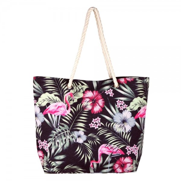 """Black tropical flamingo canvas beach bag with rope strap details.  - Button closure - One inside open pocket - Approximately 20.5"""" W x 16"""" T  - Strap length 12"""" - 60% Cotton, 40% Polyester"""