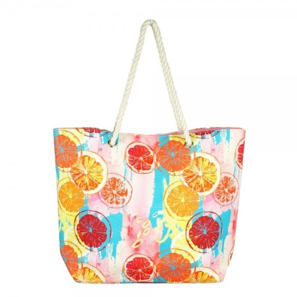 "Multicolor lemon squeeze canvas beach bag with rope strap details.  - Button closure - One inside open pocket - Approximately 20.5"" W x 16"" T  - Strap length 12"" - 60% Cotton, 40% Polyester"