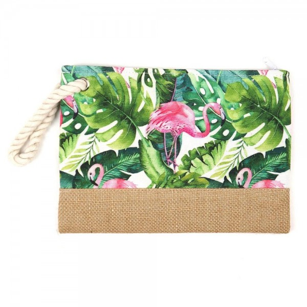 "Tropical flamingo canvas travel pouch.  - One inside open pocket - Approximately 10"" W x 7"" T  - 55% Cotton, 35% Polyester, 10% Jute"