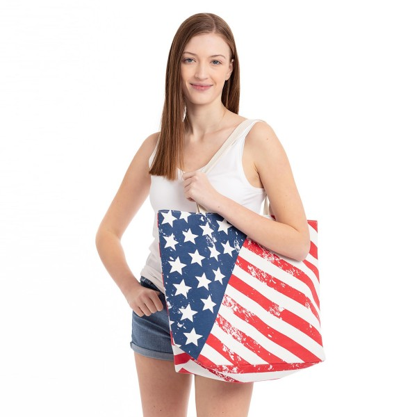 "Vintage distressed American flag beach bag.  - Button closure - One inside open pocket - Approximately 20.5"" W x 16"" T  - Strap length 12"" - 60% Cotton, 40% Polyester"
