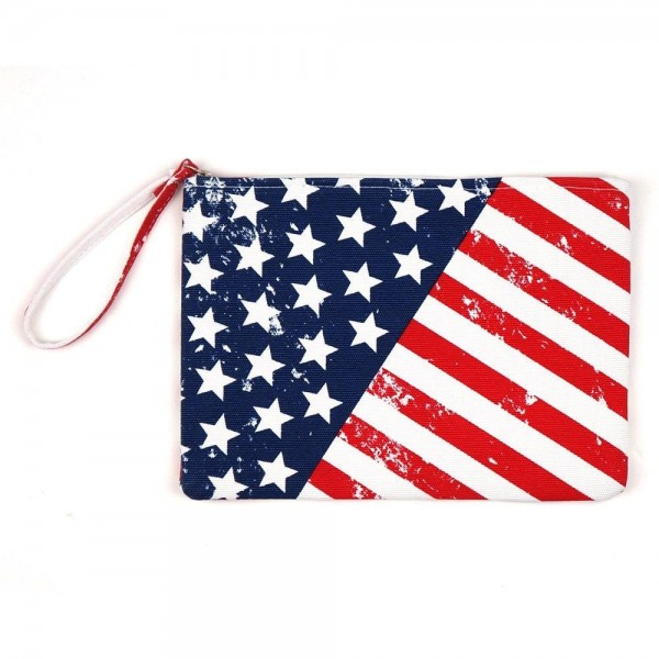 "American flag travel pouch.  - One inside open pocket - Approximately 10"" W x 7"" T  - 60% Cotton, 40% Polyester"