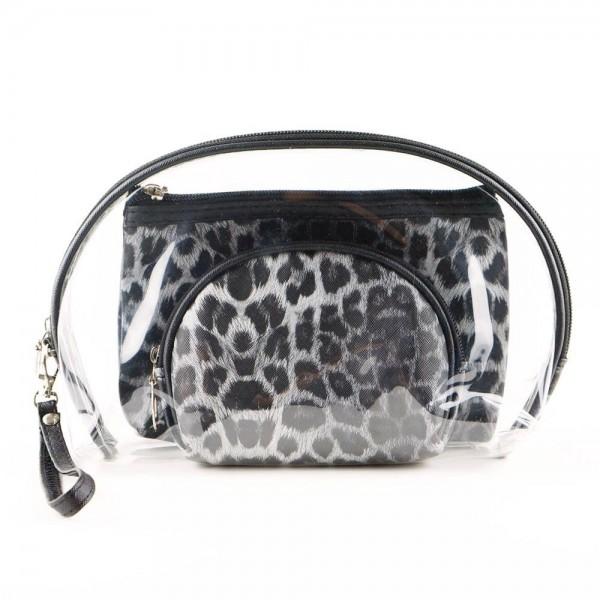 """Leopard print clear 3pc travel pouch set.  - 3 pieces  - Detachable wristlet approximately 6"""" - Clear bag 8"""" W x 7"""" T - Middle size bag 7"""" W x 5"""" T - Smallest bag 5"""" W x 4.5"""" T - 100% PU"""
