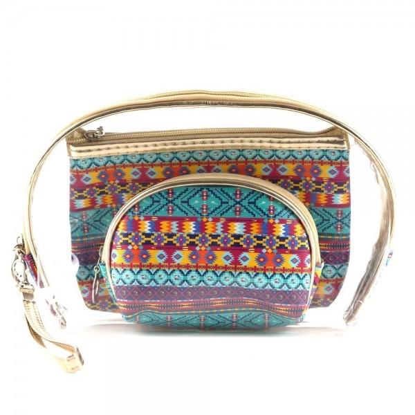 "Tribal print clear 3pc travel pouch set.  - 3 pieces  - Detachable wristlet approximately 6"" - Clear bag 8"" W x 7"" T - Middle size bag 7"" W x 5"" T - Smallest bag 5"" W x 4.5"" T - 100% PU"