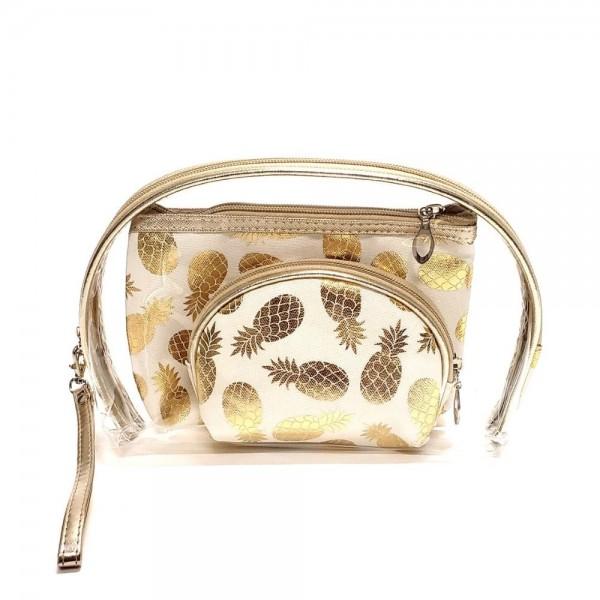 "Metallic pineapple clear 3pc travel pouch set.  - 3 pieces - Detachable wristlet approximately 6"" - Clear bag 8"" W x 7"" T - Middle size bag 7"" W x 5"" T - Smallest bag 5"" W x 4.5"" T - 100% PU"