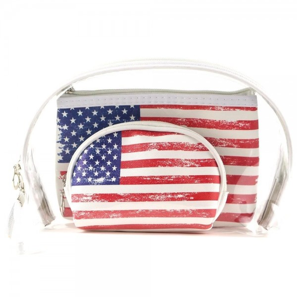 "Vintage distressed American flag clear 3pc travel pouch set.  - 3 pieces  - Detachable wristlet approximately 6"" - Clear bag 8"" W x 7"" T - Middle size bag 7"" W x 5"" T - Smallest bag 5"" W x 4.5"" T - 100% PU"