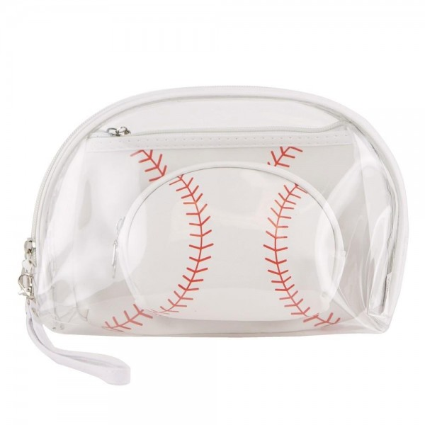 "Baseball clear 3pc travel pouch set.  - 3 pieces  - Detachable wristlet approximately 6"" - Clear bag 8"" W x 7"" T - Middle size bag 7"" W x 5"" T - Smallest bag 5"" W x 4.5"" T - 100% PU"