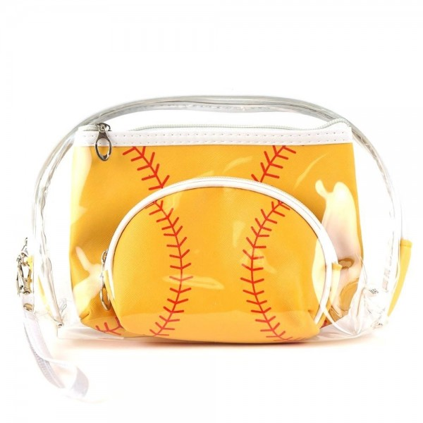 Wholesale softball clear pc travel pouch set pieces Detachable wristlet Clear ba