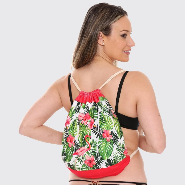 "Tropical Hibiscus Flamingo Beach Towel Drawstring Bag All in One.  - Unfold your bag to use the soft beach towel - Conveniently folds back into a drawstring bag - Towel approximately 27"" W x 59"" L - 70% Cotton / 30% Polyester"