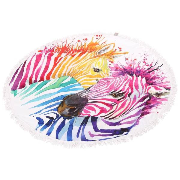 "Multicolor Zebra Print Fringe Luxury Round Beach Towel.  - Approximately 59"" in diameter - 70% Cotton / 30% Polyester"