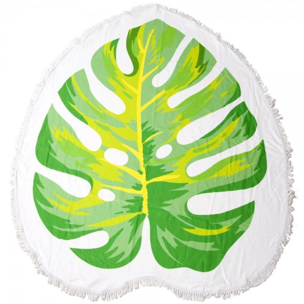 """Palm Leaf Fringe Luxury Round Beach Towel.  - Approximately 59"""" in diameter - 70% Cotton / 30% Polyester"""