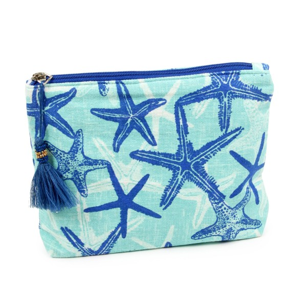 """Starfish Canvas Travel Pouch Featuring Tassel Zip Closure.  - Tassel Zip Closure - Open Lined Inside - Approximately 8"""" W x 6"""" T - 100% Cotton"""