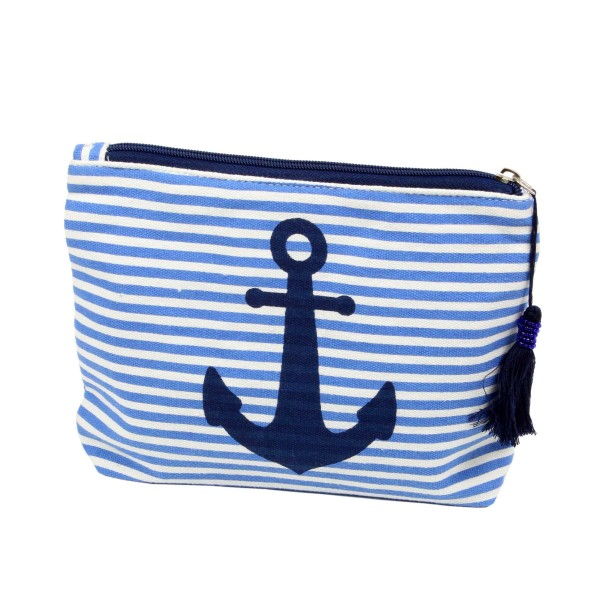 """Striped anchor travel pouch with tassel accent.  - Open inside - Zipper closure - Approximately 8"""" W x 6"""" T - 100% Cotton"""