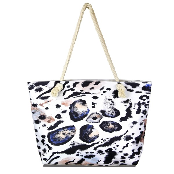 "Animal print tote bag with rope handles.  - Open inside pocket - Zipper closure - Rope handles - Approximately 22"" W x 14"" T - Handles 12"" L  - 65% Polyester, 35% Cotton"