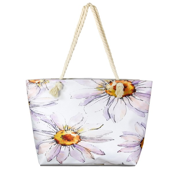 "Enlarged Flower Print Tote Bag Featuring Rope Handles.  - One inside pocket  - Zipper closure - Rope handles - Approximately 22"" W x 14"" T - Handles 12"" L - 65% Polyester, 35% Cotton"