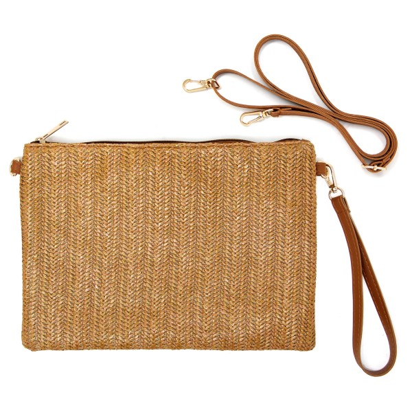 Wholesale women s raffia woven handbag detachable wristlet One inside zipper poc