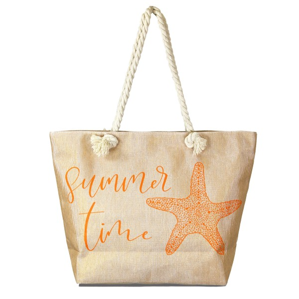 """Summer Time Beach Tote Bag.  - Open inside pocket  - Zipper closure - Rope handles - Approximately 19"""" W x 14"""" T - Handles 11"""" L - 90% Paper, 10% Polyester"""