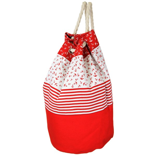 "Anchor Striped Canvas Tote Backpack Featuring Rope Drawstring.              - Open lined inside - No pockets - Rope Drawstring - Approximately 17"" W x 18"" T - 70% Polyester, 30% Cotton"