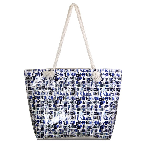 """Plastic letter canvas tote bag with rope handles.  - Open inside - Zipper closure - Rope handles - Approximately 19.5"""" W x 13.5"""" T - Handles 11"""" L - 70% Polyester, 30% PU"""